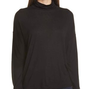 VINCE Drop Shoulder Turtleneck Black Top Medium